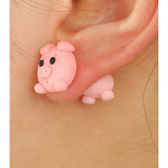 🐧Adorable Pig Polymer Clay Jacket Earrings